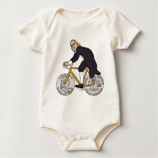 Ben Franklin On A Bike With Half Dollar Wheels Baby Bodysuit