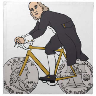 Ben Franklin On A Bike With Half Dollar Wheels Napkin