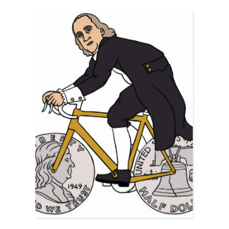 Ben Franklin On A Bike With Half Dollar Wheels Postcard