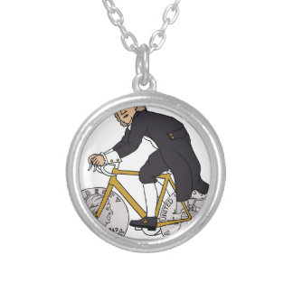 Ben Franklin On A Bike With Half Dollar Wheels Silver Plated Necklace