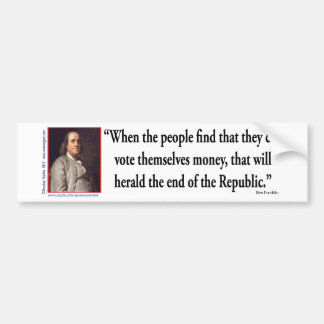 Ben Franklin on Democracy Bumper Sticker