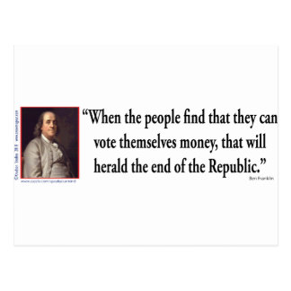 Ben Franklin on Democracy Post Card
