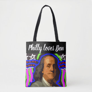 Ben Franklin pop art tote bag