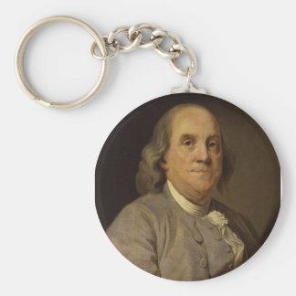 Ben Franklin Portrait Basic Round Button Key Ring