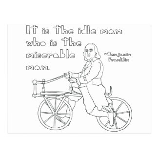 Ben Franklin Quote On Bike Postcard
