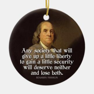 Ben Franklin Quote Round Ceramic Decoration