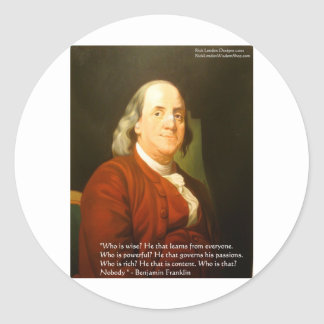 Ben Franklin (What Is Wise) Quote Gifts & Cards Round Sticker
