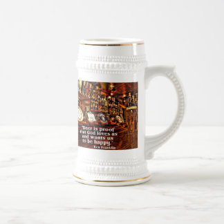 Ben Franklin's Famous Beer Quote Beer Stein