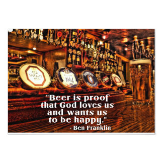 Ben Franklin's Famous Beer Quote 13 Cm X 18 Cm Invitation Card