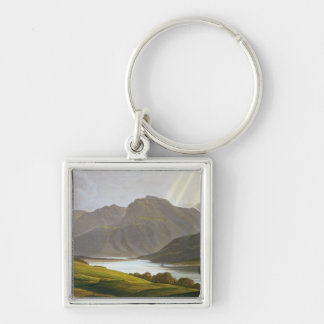 Ben Nevis, plate XII from 'Scenery of the Grampian Silver-Colored Square Key Ring