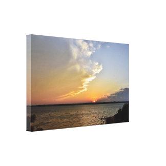 Benbrook lake sunset canvas print