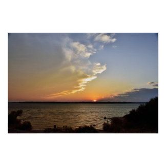 Benbrook lake sunset poster