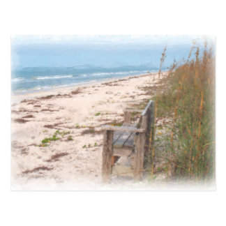 Bench at the Beach Watercolor Painting Postcard