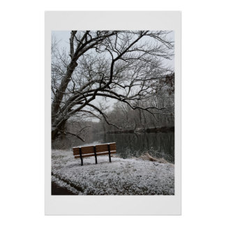 Bench by Neshaminy Creek Wintertime Poster