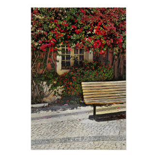 Bench by the Bougainvilla Poster