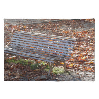 Bench in autumn park with dead leaves placemat