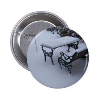 Bench on a snowy day pinback buttons