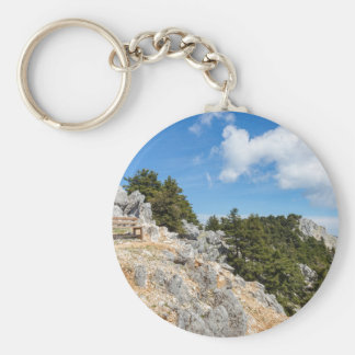 Bench on rocky mountain with trees and blue sky key ring