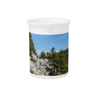 Bench on rocky mountain with trees and blue sky pitcher