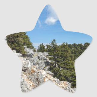Bench on rocky mountain with trees and blue sky star sticker