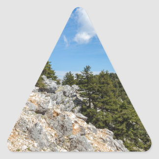 Bench on rocky mountain with trees and blue sky triangle sticker