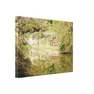 Bench Over Lake. Canvas Print