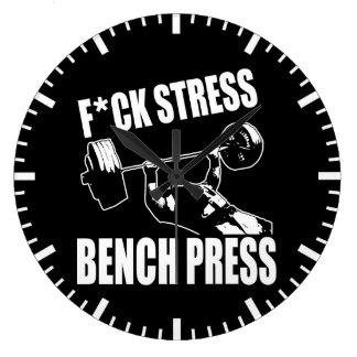 BENCH PRESS, F*CK STRESS - Workout Motivational Large Clock