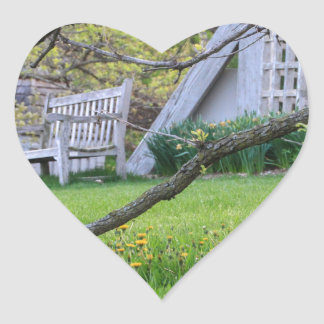 Bench Through The Trees Heart Sticker