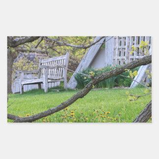 Bench Through The Trees Rectangular Sticker