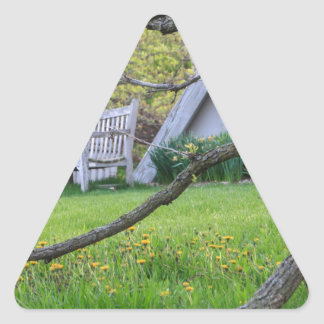 Bench Through The Trees Triangle Sticker
