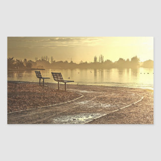 Benches at Sunrise Sticker
