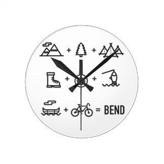 Bend Oregon Activities Equation Logo Round Clock