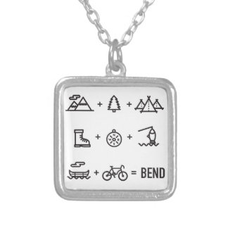 Bend Oregon Activities Equation Logo Silver Plated Necklace
