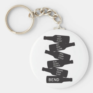 Bend Oregon Beer Bottle Stacked Outdoor Activities Basic Round Button Key Ring