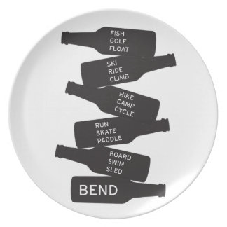 Bend Oregon Beer Bottle Stacked Outdoor Activities Plate