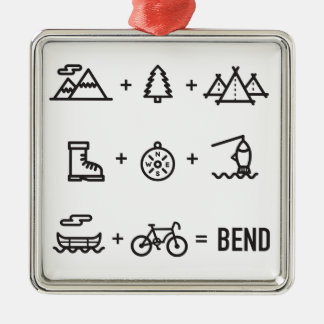 Bend Oregon Outdoor Activities Equation Silver-Colored Square Decoration