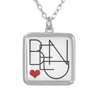 Bend Oregon Word Heart Logo Silver Plated Necklace