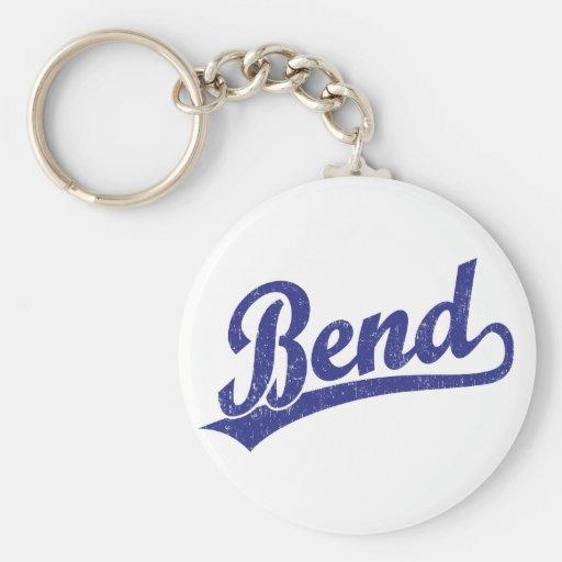 Bend script logo in blue keychain