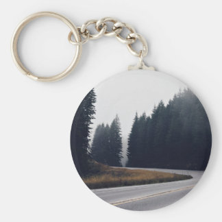 Bend Themed, Dangerous Sharp Bend Road Cover By Sp Basic Round Button Key Ring