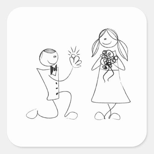 Bended Knee Proposal Wedding Sticker