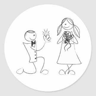 Bended Knee Proposal Wedding Sticker