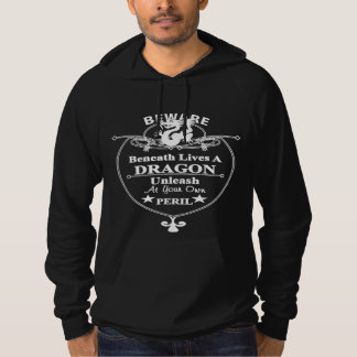 Beneath Lives A Dragon Funny Typography Graphic Hoodie