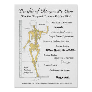 Benefits of Chiropractic Care Poster Wall Chart