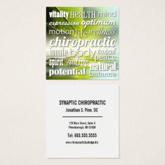 Benefits of Chiropractic Word Collage Chiropractor Square Business Card