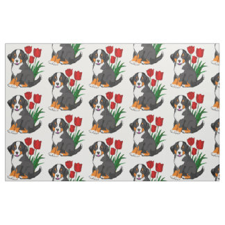 Benese Mountain Puppy With Tulips Fabric