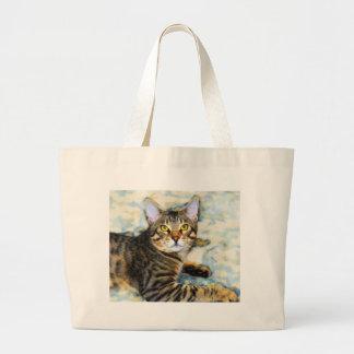 Bengal Cat Art Large Tote Bag