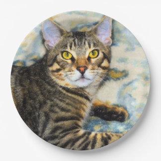 Bengal Cat Art Paper Plate