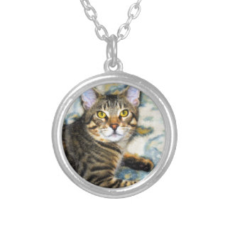 Bengal Cat Art Silver Plated Necklace