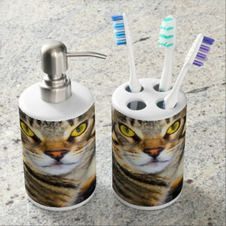 Bengal Cat Art Soap Dispenser And Toothbrush Holder