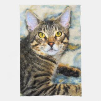 Bengal Cat Art Tea Towel